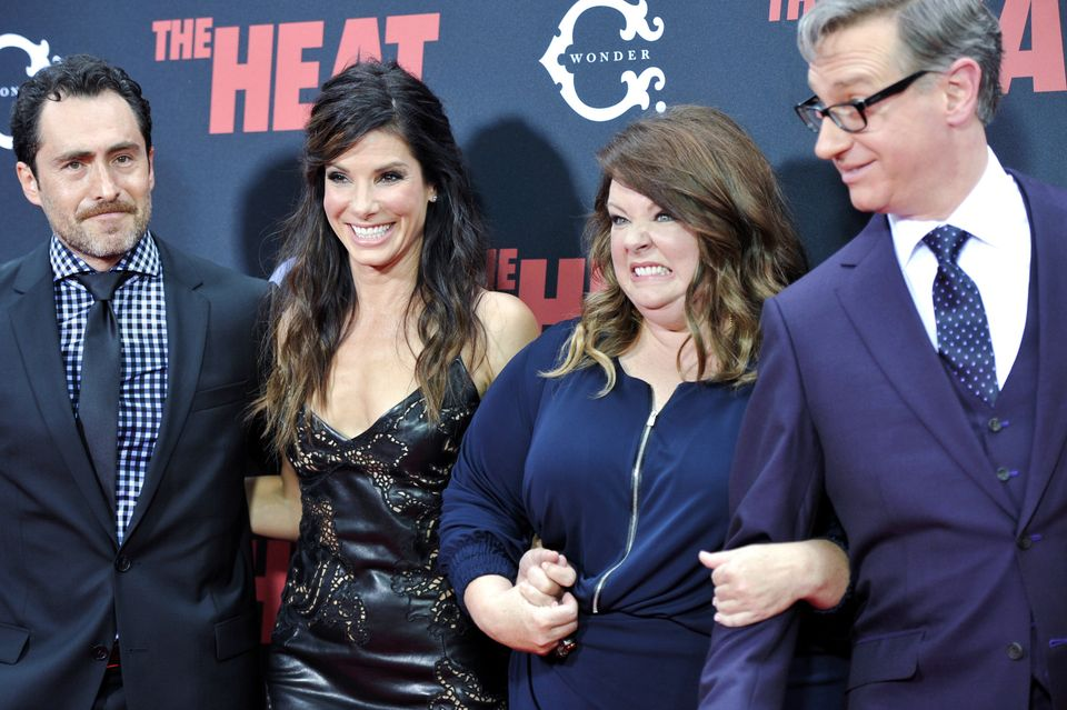 "Actors Demián Bichir, left, Sandra Bullock, Melissa McCarthey and director Paul Feig attend ""The Heat"" premiere at the Ziegfe"