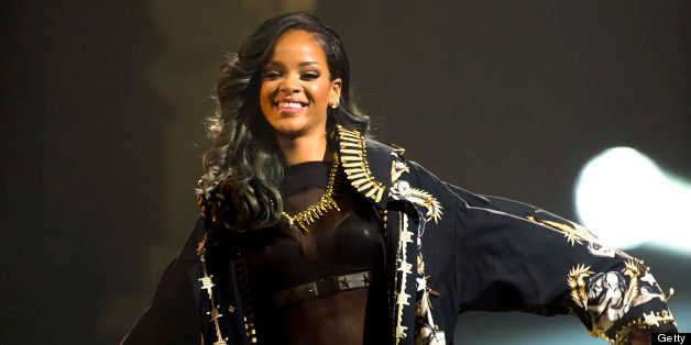 OSLO, NORWAY - JULY 25: Rihanna  performs on stage at Telenor Arena during The Diamonds World Tour 2013 in Oslo, Norway. (Pho