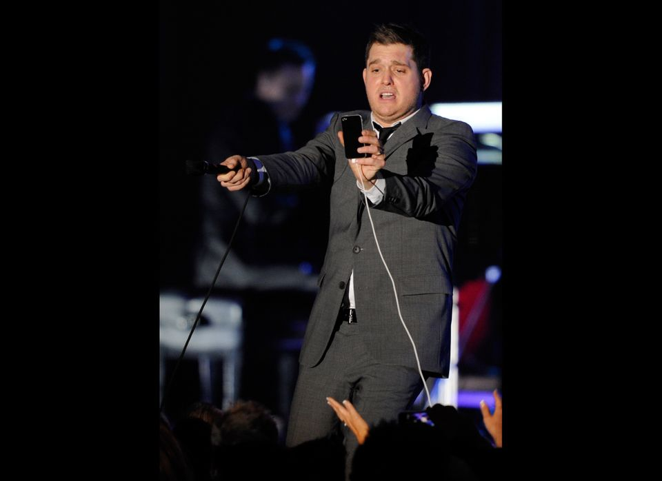 At a performance at the iHeartRadio Live concert at P.C. Richard & Son Theater in New York, Canadian singer Michael Buble ann