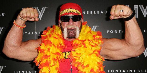 MIAMI BEACH, FL - OCTOBER 31: Hulk Hogan arrives at Kim Kardashian's Halloween party at LIV nightclub at Fontainebleau Miami