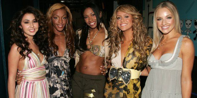 NEW YORK - JUNE 14:  (U.S. TABS OUT) (L-R) Andrea Fimbres, Dawn Richard, Wanita 'D'Woods' Woodgett Aubrey O'Day and Shannon B