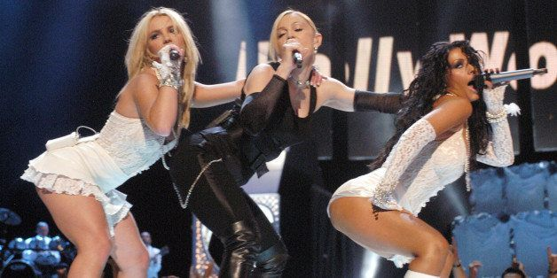 Britney Spears, Madonna and Christina Aguilera during 2003 MTV Video Music Awards - Show at Radio City Music Hall in New York