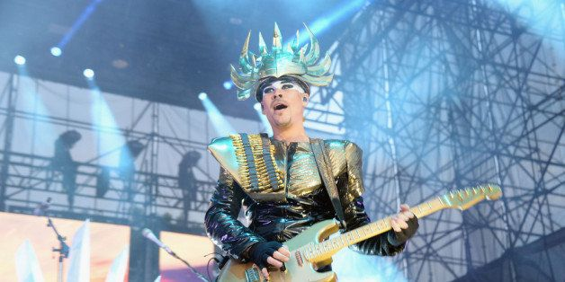 PHILADELPHIA, PA - AUGUST 31:  Luke Steele of Empire of the Sun performs during the 2013 Budweiser Made In America Festival a