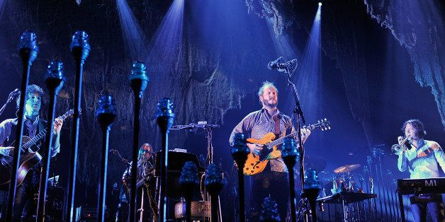 LONDON, ENGLAND - NOVEMBER 08:  Justin Vernon of Bon Iver performs at Wembley Arena on November 8, 2012 in London, England.
