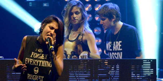 CHICAGO, IL - AUGUST 1: (L - R) Yasmine Yousaf, Yahan  Yousaf, and Kris Trindl of Krewella perform as part of the Lollapalooz
