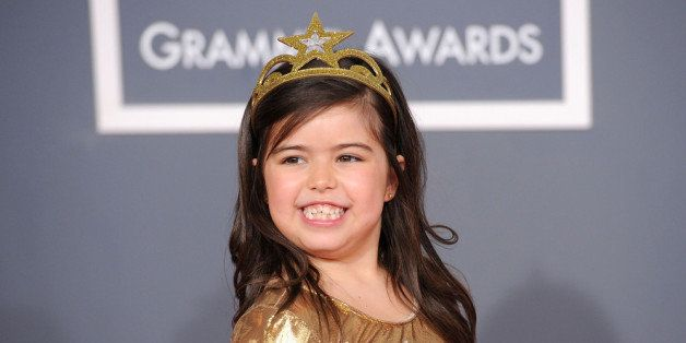 LOS ANGELES, CA - FEBRUARY 12:  Sophia Grace arrives at the 54th Annual GRAMMY Awards held at Staples Center on February 12,