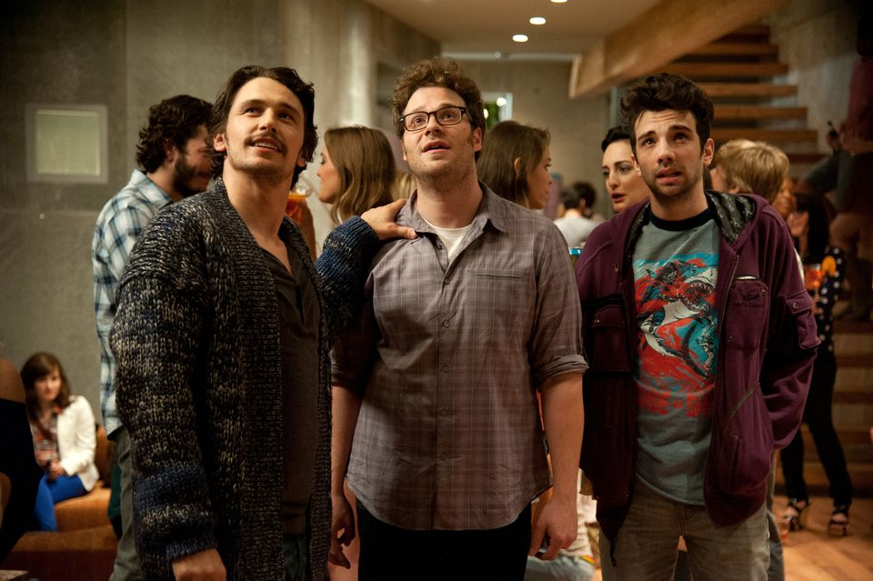 This film publicity image released by Columbia Pictures shows, from left, James Franco, Seth Rogen and Jay Baruchel in a scen