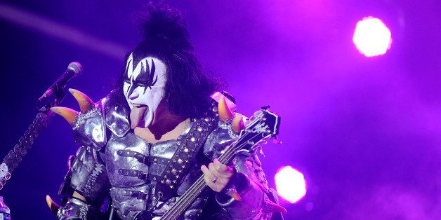 The bassist of US rock band Kiss Gene Simmons performs on stage during the Hellfest Heavy Music Festival on June 22, 2013 in