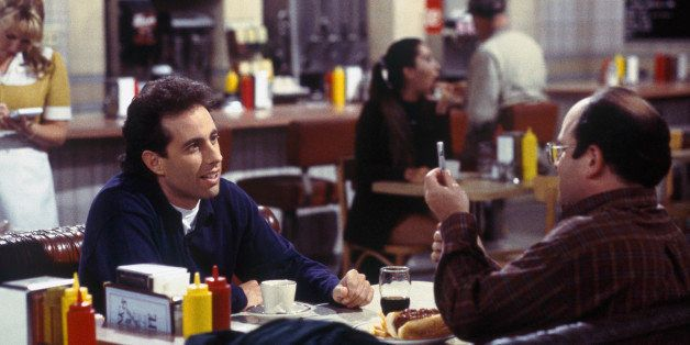 SEINFELD -- 'The Blood' Episode 4 -- Pictured: (l-r) Jerry Seinfeld as Jerry Seinfeld, Jason Alexander as George Costanza  (P
