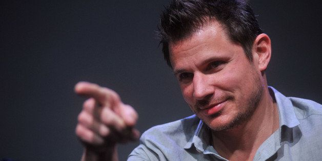 NEW YORK, NY - MAY 08:  Nick Lachey of 98 Degrees performs at Meet the Musicians at the Apple Store Soho on May 8, 2013 in Ne
