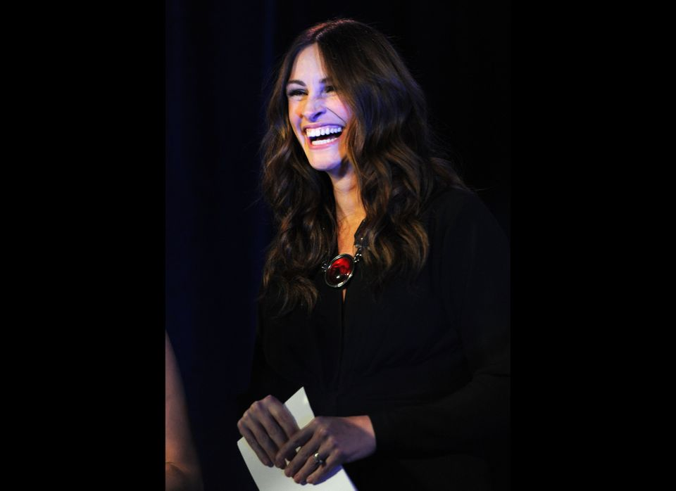 Actress Julia Roberts speaks onstage at the Cinema For Peace event benefitting J/P Haitian Relief Organization in Los Angeles