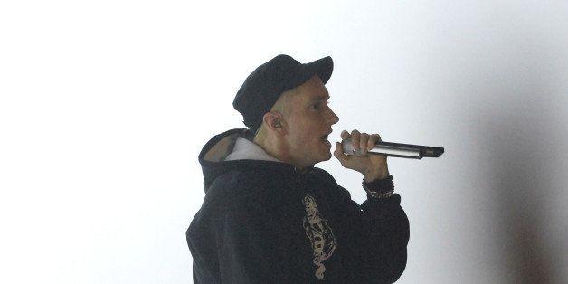 NEW YORK, NY - NOVEMBER 03:  Eminem performs onstage at the YouTube Music Awards 2013  on November 3, 2013 in New York City.