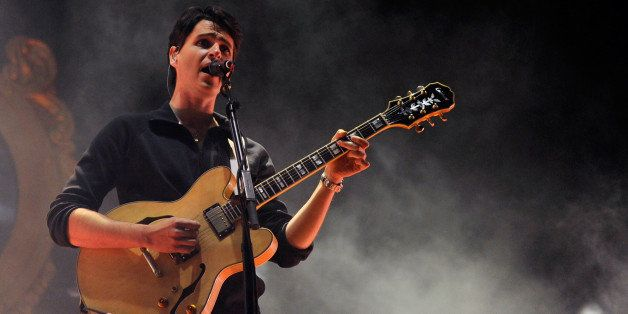 LAS VEGAS, NV - OCTOBER 27:  Singer/guitarist Ezra Koenig of Vampire Weekend performs during the Life is Beautiful festival o