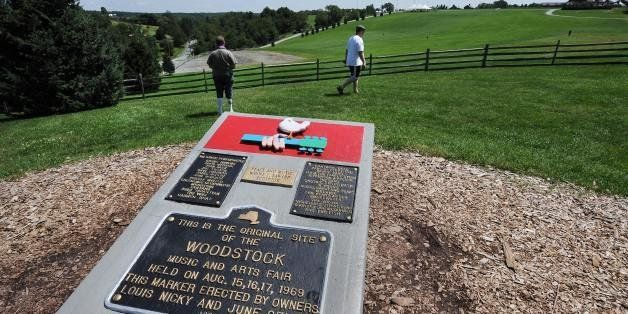 TO GO WITH AFP STORIES 'US-MUSIC-SOCIETY-HISTORY-WOODSTOCK' A monument at the site of the Woodstock Music and Arts Fair, next