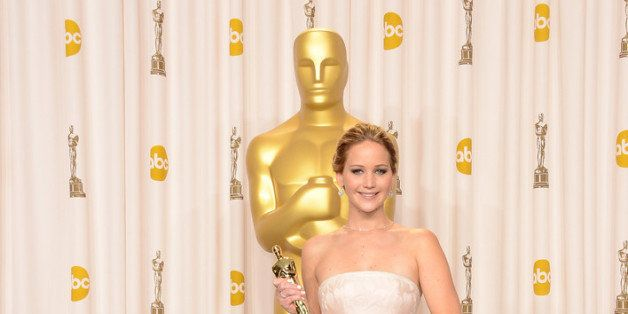 HOLLYWOOD, CA - FEBRUARY 24:  Actress Jennifer Lawrence, winner of the Best Actress award for 'Silver Linings Playbook,' pose