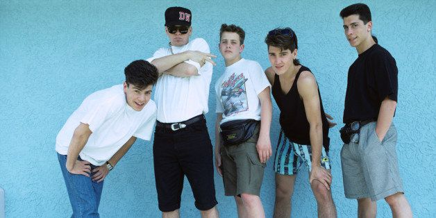 UNITED STATES - MAY 12:  Photo of NEW KIDS ON THE BLOCK and Jonathan KNIGHT and Donnie WAHLBERG and Jordan KNIGHT and Joey Mc