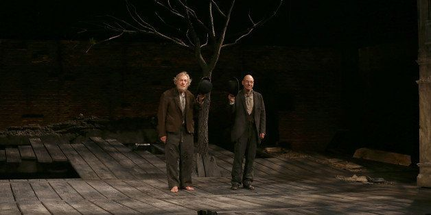 NEW YORK, NY - NOVEMBER 24:  Ian McKellen and Patrick Stewart during the Opening Night Curtain Call for 'Waiting For Godot' a