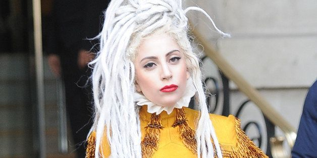 LONDON, UNITED KINGDOM - DECEMBER 09: Lady GaGa Seen at the langham hotel  on December 9, 2013 in London, England. (Photo by