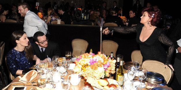 LOS ANGELES, CA - JANUARY 25:  Jordan Feldstein and Sharon Osbourne during the 56th annual GRAMMY Awards  Pre-GRAMMY Gala and