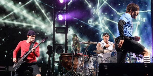SAN FRANCISCO, CA - AUGUST 11:  Flea, Chad Smith, and Anthony Kiedis of Red Hot Chili Peppers perform at the Lands End Stage