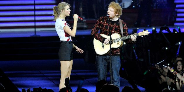 LONDON, ENGLAND - FEBRUARY 01:  Seven-time Grammy winner Taylor Swift was joined on stage by Ed Sheeran as she kicked off the