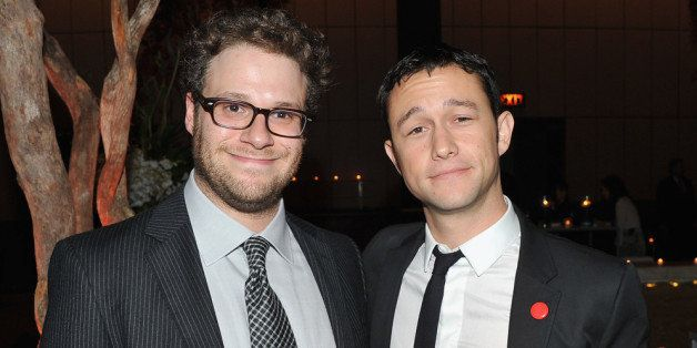 NEW YORK, NY - SEPTEMBER 26:  Seth Rogen and Joseph Gordon-Levitt attend the after party for the premiere of '50/50' at the F