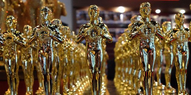 Oscar statuettes are lined up in a local souvenir shop 10 days prior to this year's upcoming Oscars, the 85th Academy Awards,