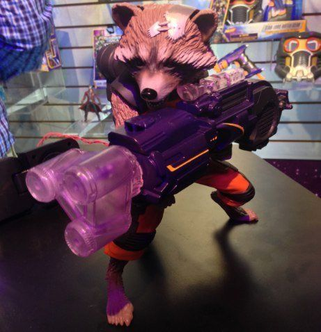 "Rocket Raccoon from ""Guardians of the Galaxy"" speaks and animates as he fires his weapon."