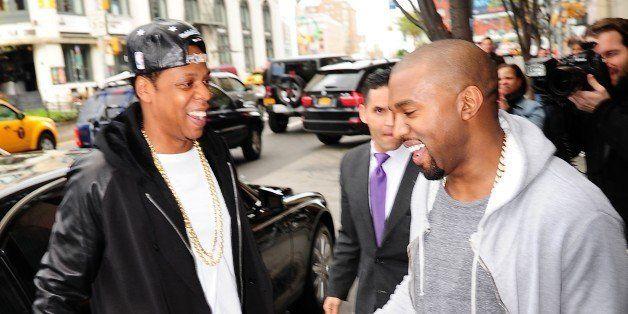NEW YORK, NY - APRIL 22: Jay Z and Kanye Westare seen in Soho on April 22, 2013 in New York City. (Photo by Alo Ceballos/Film