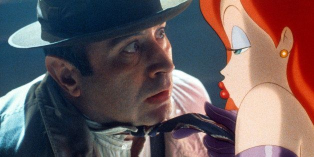 Bob Hoskins is seduced by Jessica Rabbit in a scene from the film 'Who Framed Roger Rabbit', 1988. (Photo by Buena Vista/Gett