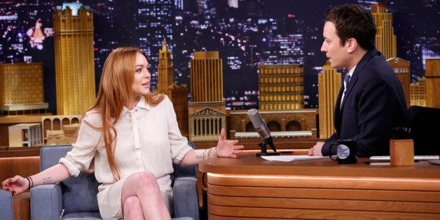 THE TONIGHT SHOW STARRING JIMMY FALLON -- Episode 0014 -- Pictured: (l-r) Lindsay Lohan during an interview with host Jimmy F