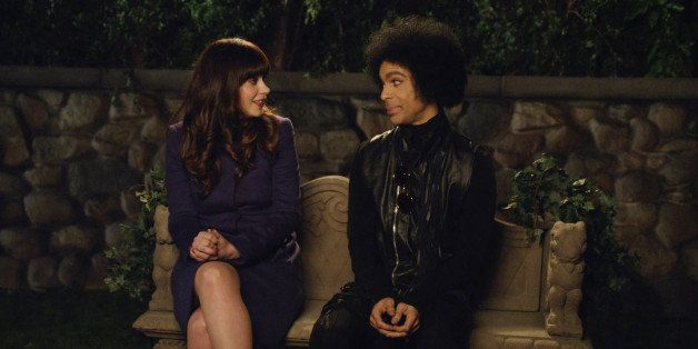 NEW GIRL: (L-R) Zooey Deschanel and music royalty Prince in the 'Prince' episode of NEW GIRL airing Sunday, Feb. 2, 2014 (app