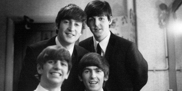 LONDON - 30th DECEMBER: The Beatles posed backstage at the Finsbury Park Astoria, London during the band's Christmas Show res