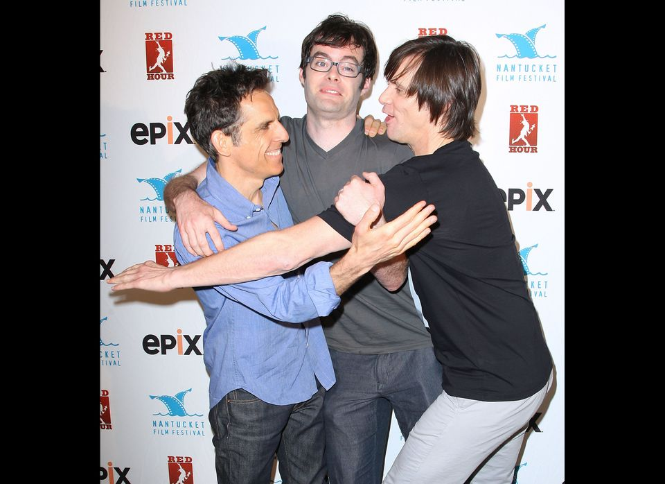 Ben Stiller, Bill Hader y Jim Carrey. (AP Photo/Starpix, Kristina Bumphrey)