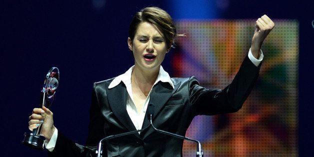 LAS VEGAS, NV - MARCH 27:  Female Star of Tomorrow award winner Shailene Woodley speaks onstage during The CinemaCon Big Scre