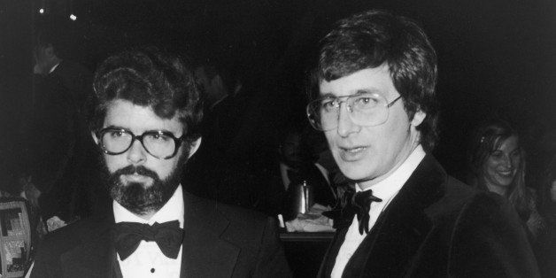 American directors George Lucas (L) and Steven Spielberg hold their Best Director nomination plaques at the Directors Guild o
