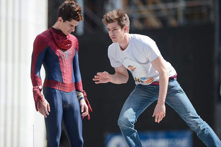 "Actor Andrew Garfield, right, rehearses a scene with his stunt double at the ""The Amazing Spider-Man 2"" movie set in Madison"
