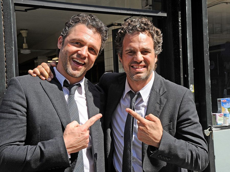 "Anthony Molinari, stunt double for Mark Ruffalo, and Mark Ruffalo filming on location for ""Now You See Me"" on March 22, 2012"