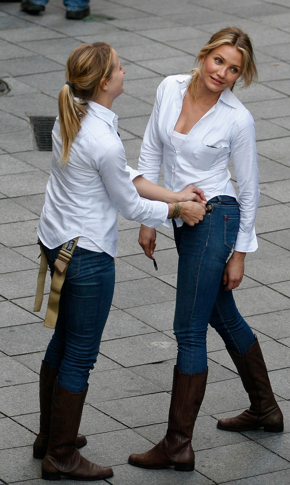 "Cameron Diaz and her stunt double seen during the shooting of the film ""Knight and Day"" on Dec. 9, 2009 in Seville, Spain."
