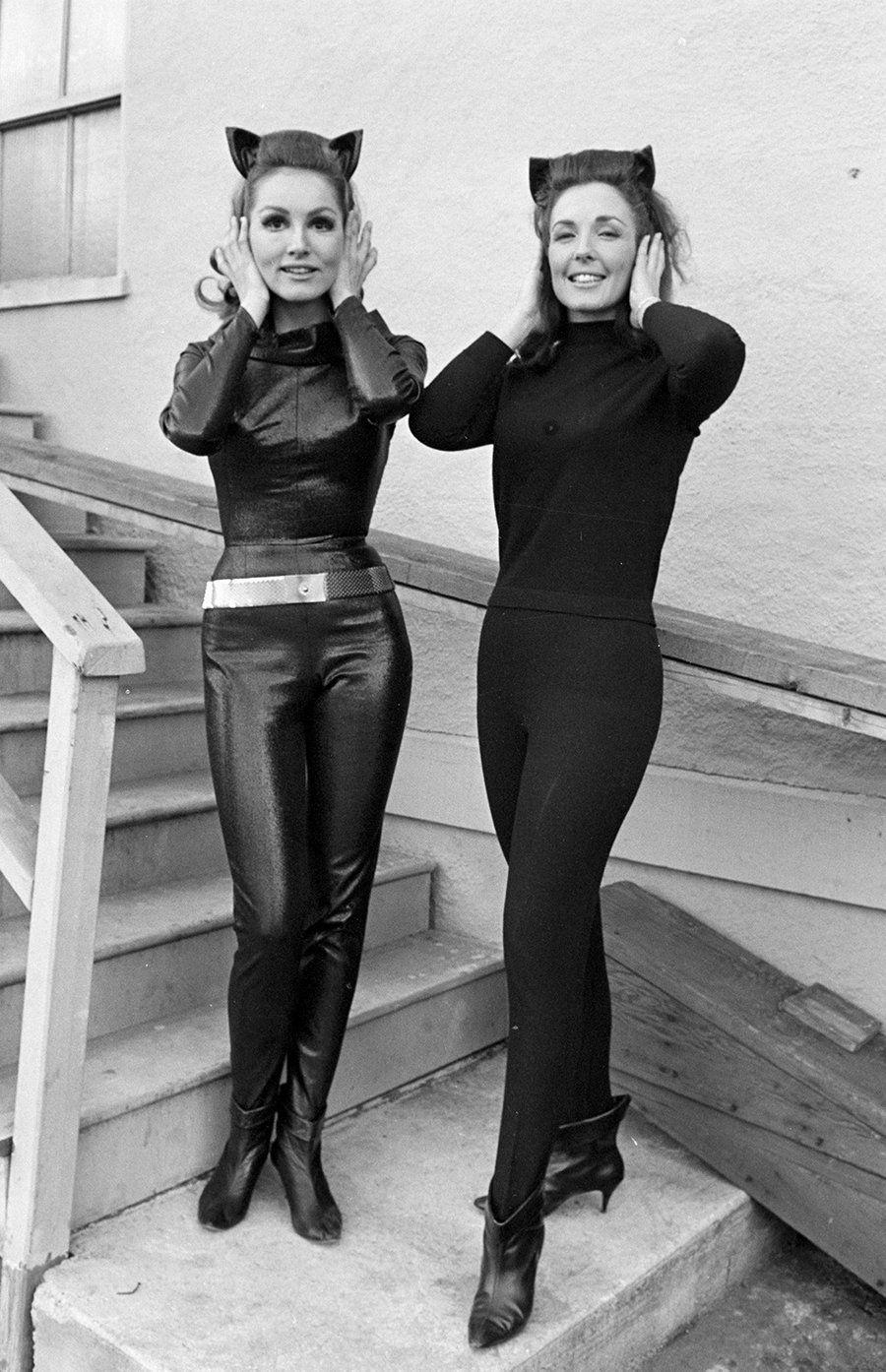 "Julie Newmar, left, with her stunt double on the set of the ""Batman"" TV series on March 3, 1966."