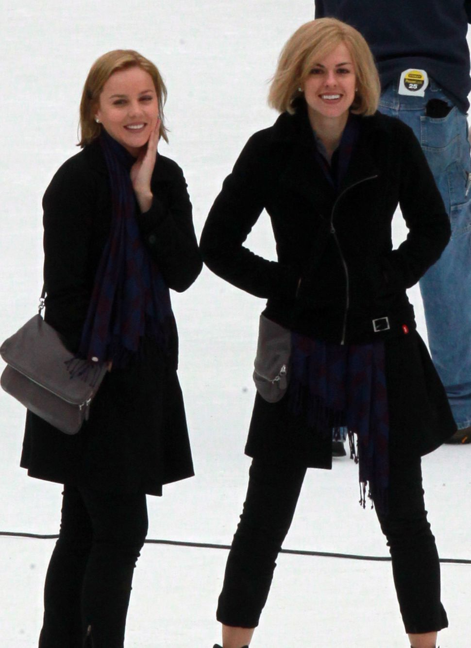Actress Abbie Cornish, left, took to the ice with her stunt double in New York City, New York on March 31, 2010 to film her n