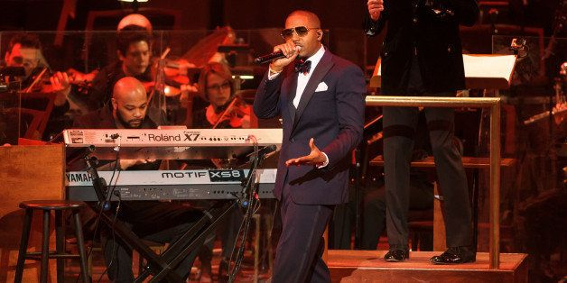 WASHINGTON, DC - March 28th, 2014 - Rapper Nas performs his classic debut album Illmatic with the National Symphony Orchestra