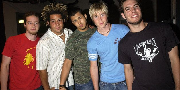 Jacob Underwood, Trevor Penick, Erik-Michael Estrada, Ashley Parker Angel, and Dan Miller of O-Town (Photo by KMazur/WireImag