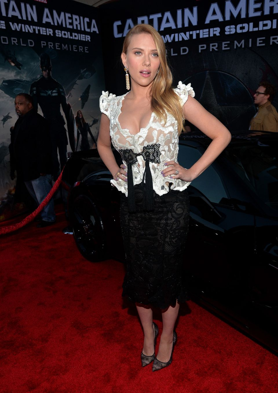 HOLLYWOOD, CA - MARCH 13:  Actress Scarlett Johansson attends Marvel's 'Captain America: The Winter Soldier' premiere at the
