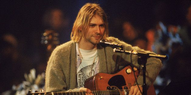 American singer and guitarist Kurt Cobain (1967 - 1994), performs with his group Nirvana at a taping of the television progra