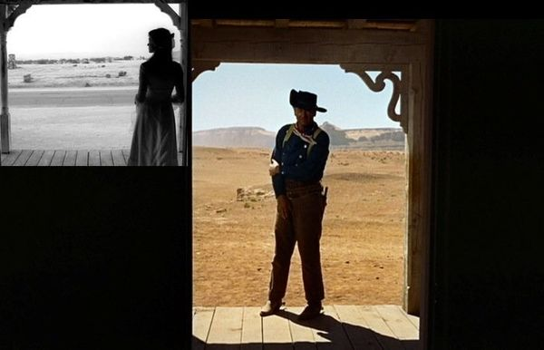 "In the beginning of ""Vol. 2,"" the shot of The Bride standing in the doorway is <a href=""http://www.imdb.com/title/tt0378194/m"