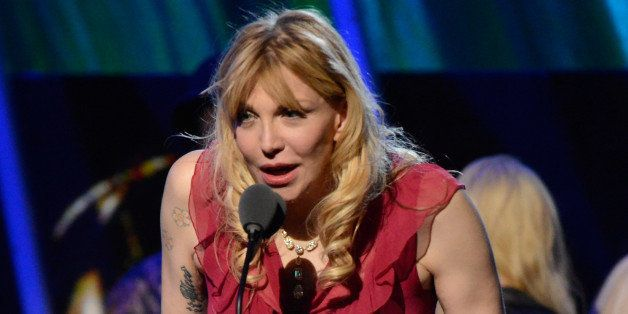 NEW YORK, NY - APRIL 10: Courtney Love speaks onstage at the 29th Annual Rock And Roll Hall Of Fame Induction Ceremony at Barclays Center of Brooklyn on April 10, 2014 in New York City. (Photo by Kevin Mazur/WireImage)