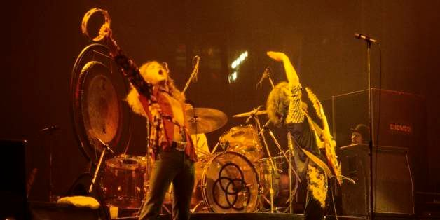 UNITED STATES - JANUARY 24:  Photo of LED ZEPPELIN; L-R: Robert Plant, Jimmy Page performing live onstage at Richfield Colise