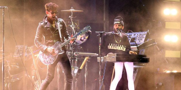 INDIO, CA - APRIL 18:  Musician Dave 1 and P-Thugg of Chromeo perform onstage during day 1 of the 2014 Coachella Valley Music