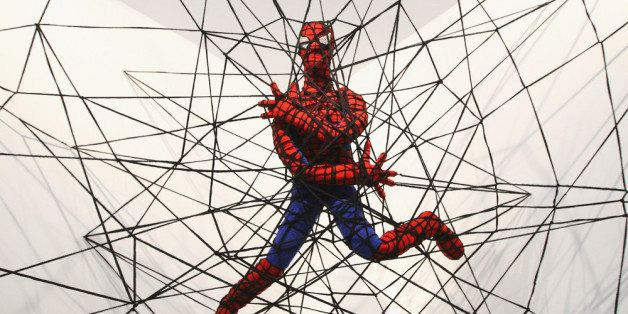 BERLIN, GERMANY - APRIL 26:  The knitted sculpture 'Spiderman' by Patricia Waller, featuring the comic book character as an i